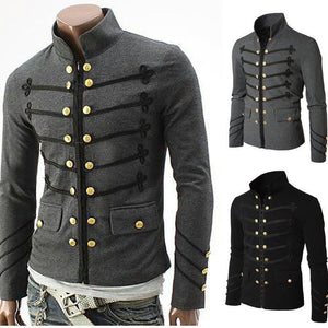 Embroidered Doble-Buckle Solid Color Men's Jacket
