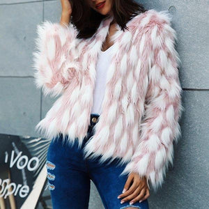 Warm Pink Personality Faux Fur Coat