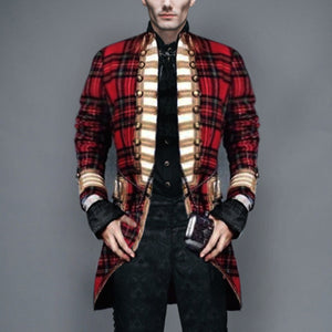 Fashion Men's Decorative Buckle Plaid Jacket