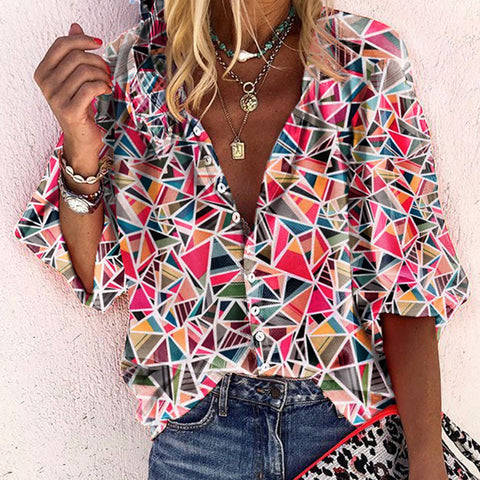 Casual A Lapel Halflong Sleeve Printed Colour Single-Breasted Blouse