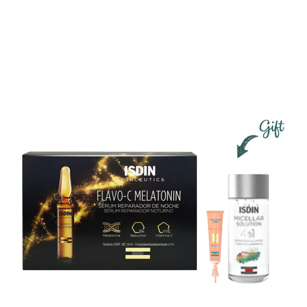 Isdinceutics Flavo-C Melatonin X10 2ML + Mini Micellar Lotion + Mini Fusion Water
