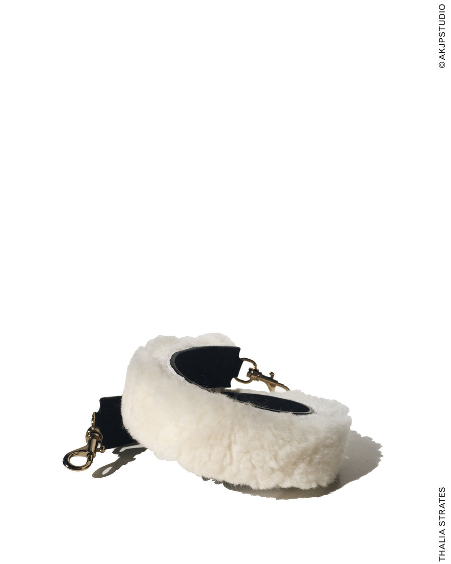 THALIA STRATES: Shearling Shoulder Strap