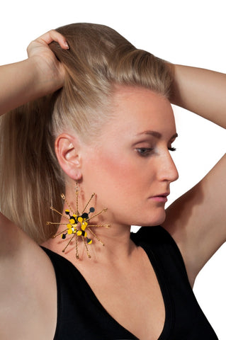 Black & Yellow Metal Star Like Handmade UPCYCLED STATEMENT SINGLE EARRING