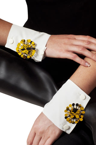 Black & Yellow Metal Flower Like Handmade UPCYCLED FASHION CUFFLINKS