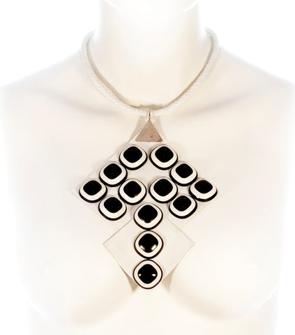 Double Square shaped White Real Leather Black & White Plastic Elements Handmade UPCYCLED FASHION NECKLACE