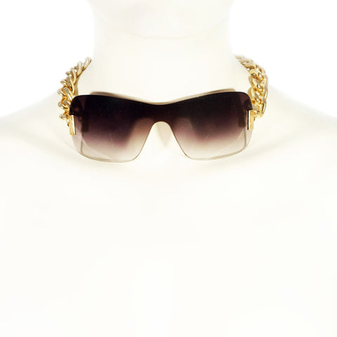 Gold Chain & Brown Sunglasses Mask Choker Handmade UPCYCLED STATEMENT NECKLACE