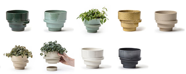 photos of the big stacked flowerpots in all colours