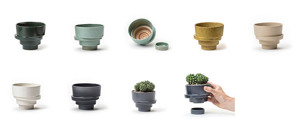 photos of the small stacked flowerpots in all colours