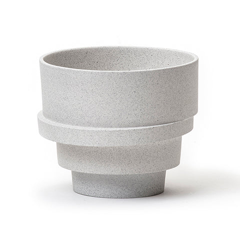 The big stacked flowerpot - grey melange (unglazed)