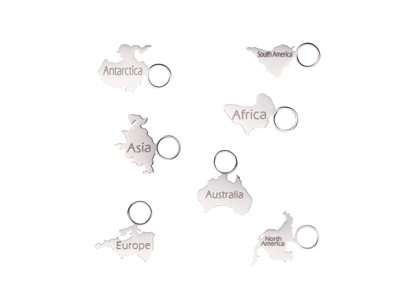 3 x Engraved Continent Charm - traveller charms (Lukas Schmitz)