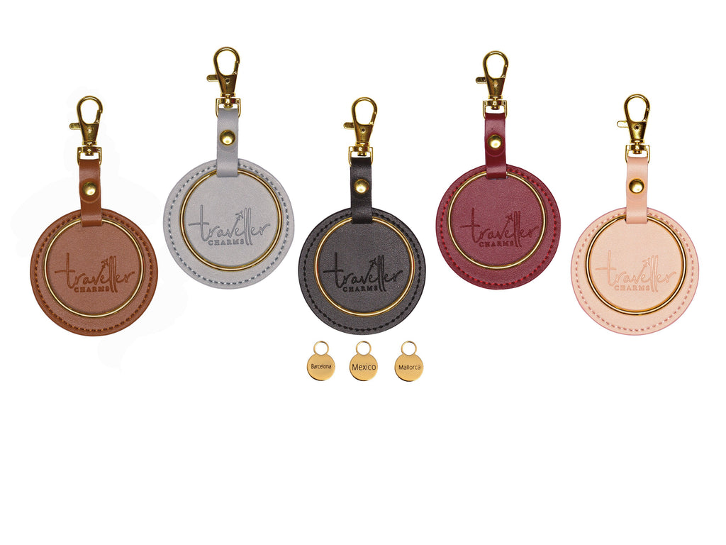 GOLD Gift Set - Key Chain & 3 Engraved Travel Charms - Traveller Charms