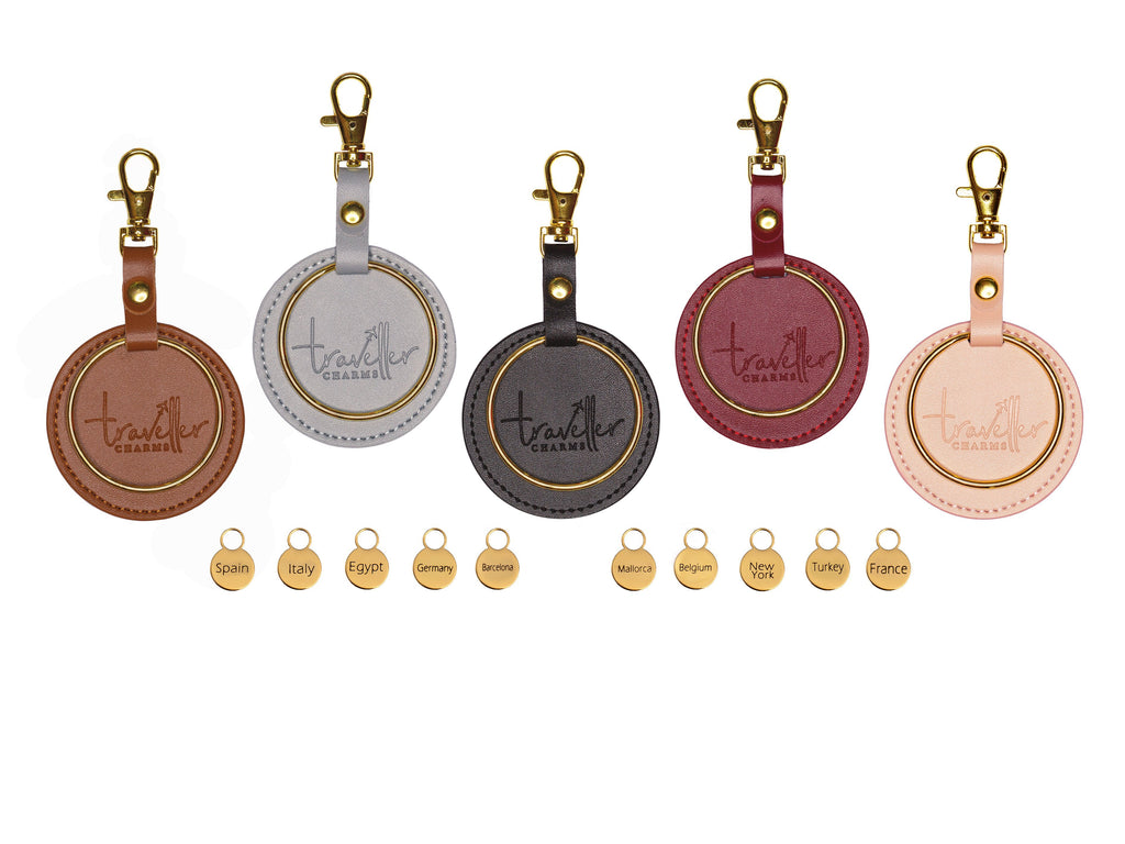 GOLD Starter Set - Key Chain & 10 Engraved Travel Charms - Traveller Charms