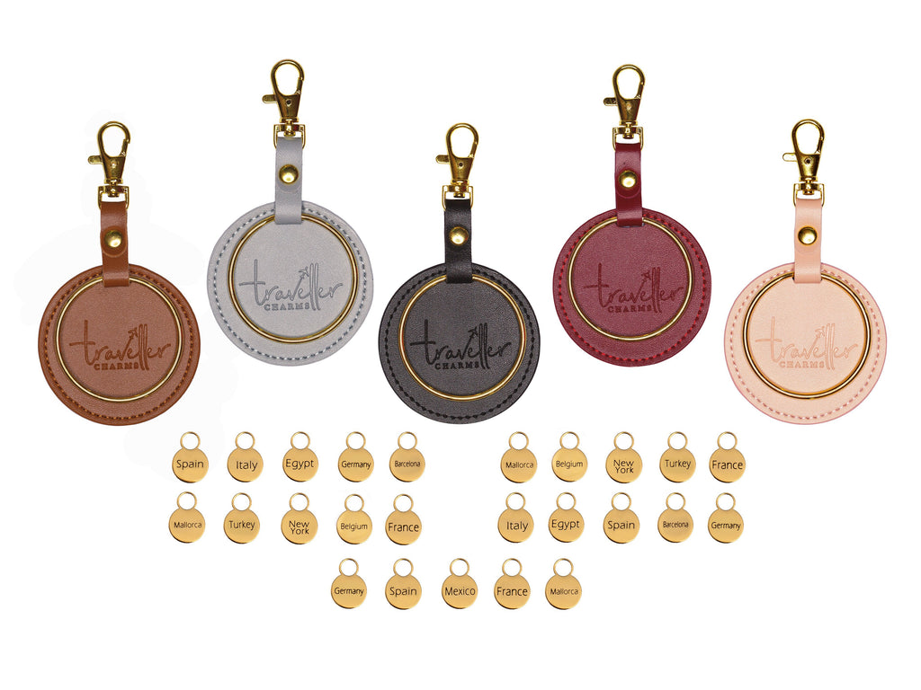 GOLD Starter Set - Key Chain & 25 Engraved Travel Charms - Traveller Charms