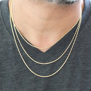 "10k Yellow Gold Semi-Solid Rope Chain Necklace| 16""-18""- 20""-22"""