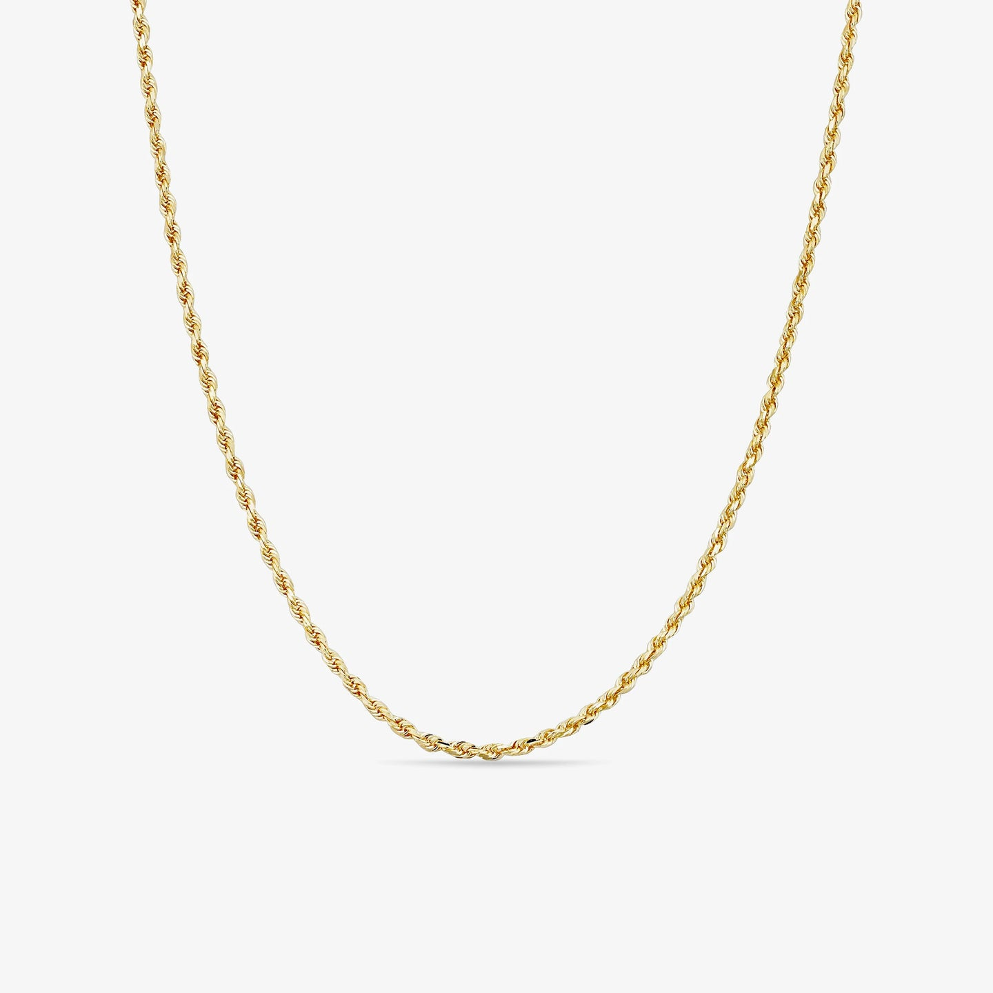 10k Yellow Gold Semi-Solid Rope Chain Necklace| 16