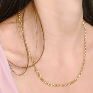 "10k Yellow Gold Semi-Solid Rope Chain Necklace for Men & Women Unisex - 16"" 18"" 20"" 22"""