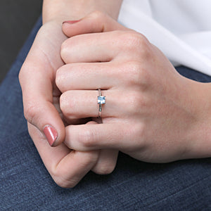 14K White Gold Cushion Cut Blue Topaz Gemstone Ring