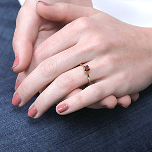 14K Gold Cushion Red Garnet Engagement Ring