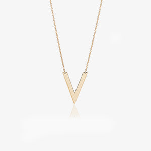 14K Solid Gold V Shape Layering Necklace - estellacollection