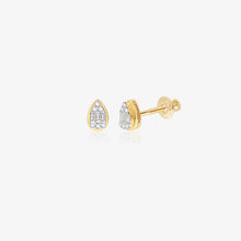 Load image into Gallery viewer, Diamond Pear Shaped 14K Gold Studs - estellacollection
