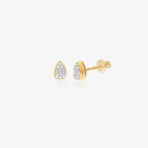 Diamond Pear Shaped 14K Gold Studs - estellacollection