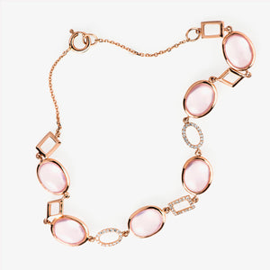 Rose Quartz And Diamond Tennis Bracelet - estellacollection