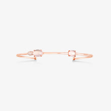 Load image into Gallery viewer, Diamonds Cuff Bracelet With Rose Quartz - estellacollection