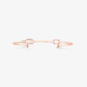 Diamonds Cuff Bracelet With Rose Quartz - estellacollection