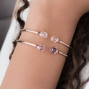 Diamond Cuff Bracelet With Rose Quatz - estellacollection