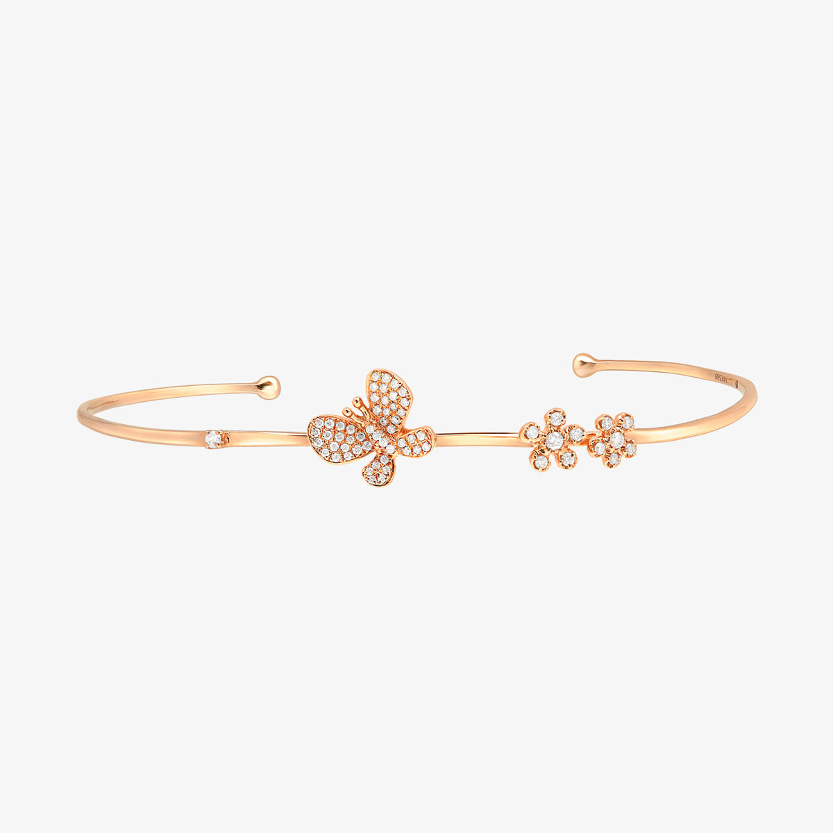 Butterfly And Flowers Gold And Diamond Cuff Bracelet - estellacollection