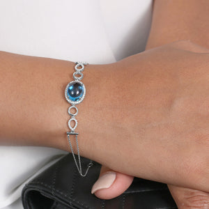 White Gold And Diamonds Bracelet With 6 Carat Swiss Blue Center - estellacollection