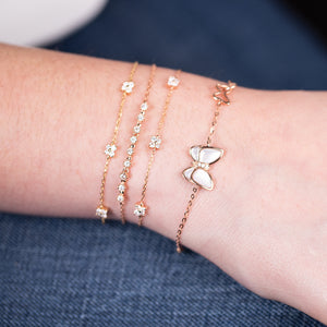 Diamond Butterfly Bracelet With Pearls - estellacollection