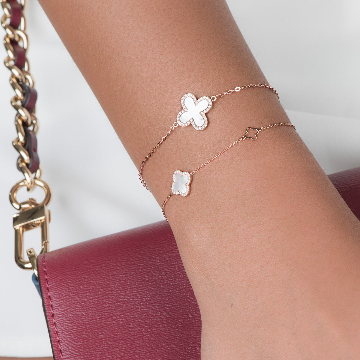 Diamond Clover Bracelet With Pearl - estellacollection
