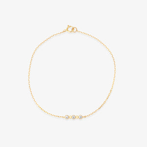3 Stone Diamond Studded Chain Bracelet - estellacollection