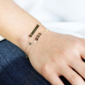 14K Solid Gold Bar | Monogram Name Bar | Engrave Name Bracelet