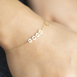 14K Solid Gold Love letter Bracelet