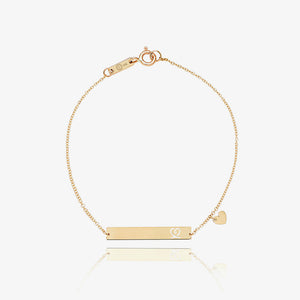 14K Solid Gold Bar | Monogram Name Bar | Engrave Name Bracelet - estellacollection