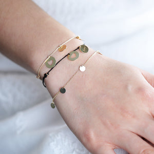 14K Solid Gold Layering Stacking Disc Coin Bracelet - estellacollection