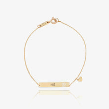 Load image into Gallery viewer, 14K Solid Gold Bar | Monogram Name Bar | Engrave Name Bracelet - estellacollection