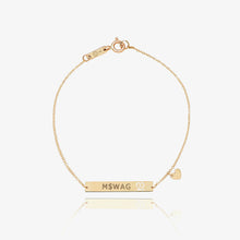 Load image into Gallery viewer, 10k Solid Gold Bar | Monogram Name Bar | Engrave Name Bracelet - estellacollection