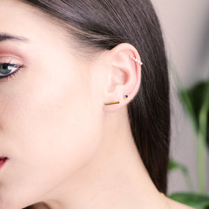 Gold And Diamond Line Hoop Earrings - estellacollection