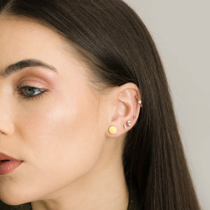 Gold Small Disc Earrings - Pair