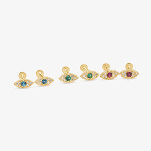 14 Karat Gold Evil Eye Gemstone Stud Earrings