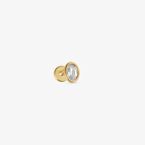 Oval Bezel Solitaire Threaded Stud Earrings | 14k Gold | Upper Ear Piercings