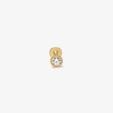 Load image into Gallery viewer, Beaded Bezel Cubic Zirconia Solitaire Threaded Stud Earrings |14k Gold | Upper Ear Piercings