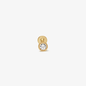 Beaded Bezel Cubic Zirconia Solitaire Threaded Stud Earrings |14k Gold | Upper Ear Piercings