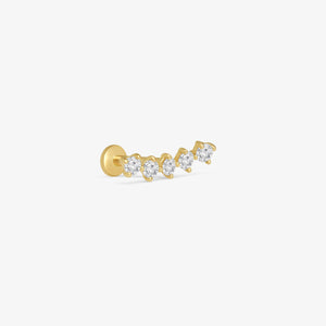 Diamond Constellation Ear Crawler Internally Threaded Stud Earrings | 14K Solid Gold | Piercing Fine Jewelry
