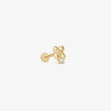 Load image into Gallery viewer, 14K Gold Diamond Daisy Threaded Stud Earrings