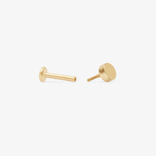 Load image into Gallery viewer, Petite Disc Threaded Stud Earrings | 14k Gold | Upper Ear Piercings