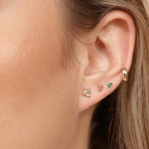 14K Gold Snakebite Style Double Starter Threaded Stud Earrings